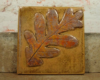 Ceramic Tile with Oak Leaf - 4 Inch - Stoneware