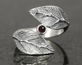 Garnet cabochon leaf ring in sterling silver - elf pixie tribal boho