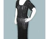 Vintage 1930's/40's Handmade Black Crochet Dress