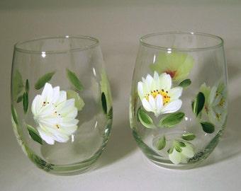 Hand Painted Shasta Daisy Stemless Wine Glasses