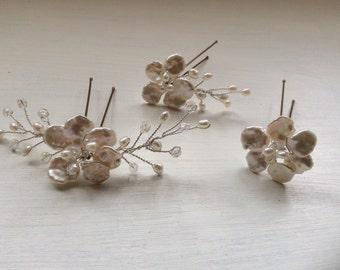 Bridal hair accessories, 3 Handmade pearl hairpins