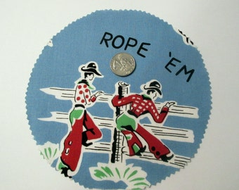 """Cowboy Campfire Coffee Break PATTERN AND precut fabric for 1 set(4) """"Rope Em"""" Blue Plates 2N2 Cowboys and Horses Mugmats"""