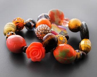 Beaded Bracelets, Stretch Bracelets, Chunky Bead Bracelets, Bracelet Set, Orange, For Her, Kollage Orange Blossom Beaded Stretch Bracelet V2