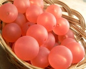 Watermelon Red Vintage Plastic Round Bead Matte Frosted Pink 16mm (36)