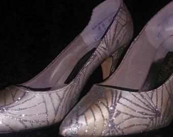 """White & Silver Glitter Vintage Wild Nights 3"""" Pumps"""