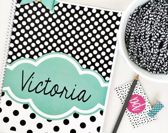 Personalized spiral, personalized notebook, monogrammed spiral, monogrammed notebook, polka dot spiral, spiral, notebook