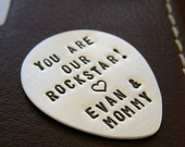 Valentines Day Sale Custom Guitar Pick - Personalized Hand Stamped Sterling Silver Pick - Perfect Gift for Father's Day