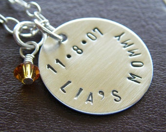 """Personalized Necklace - Custom Sterling Silver Hand Stamped Jewelry - Single 3/4"""" Charm with Optional Birthstone or Pearl"""