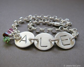 """Custom Initital Bracelet - Personalized Sterling Silver Hand Stamped Charm Jewelry - 1/2"""" Charm, Optional Birthstones or Pearl in Rolo Chain"""