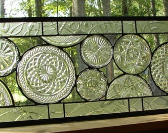 stained glass Vintage all Clear Plate panel custom available