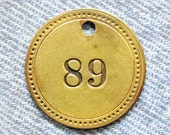 Painted Number 89 Brass Tag Motel Room Check Id Retro Antique Keychain Key Ring Fob Token