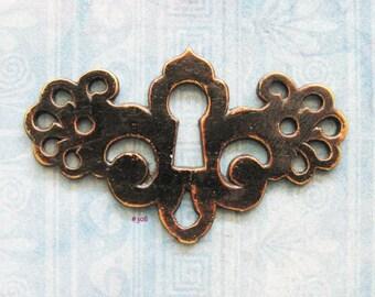 Gothic Filigree Escutcheon Furniture Keyhole Plate Antique Art Deco Nouveau Brass Armoire Skeleton Key Hardware