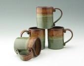 Pottery Coffee Mug Sold Singly, Medium (10-12 oz) Cafe Style Tea Mug, Honey/Sage Stoneware Serving Mug Ready to Ship