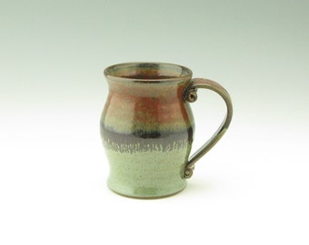 Pottery Beer Tankard - Handmade Extra Large oz Pot Belly Coffee Mug - Unique Jasper & Sage Green Stoneware Stein Great Gift for Him, OOAK