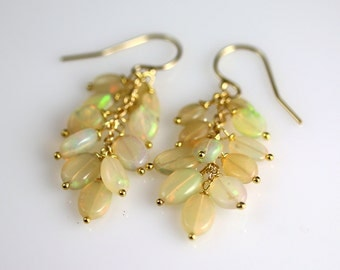 Ethiopian Fire Opal Earrings - Gold Fill - Opal Earrings - Opal Jewelry