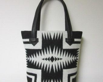 Bucket Bag Purse Tote Bag Black White Wool Tribal Inspired Black Leather 5 Pockets