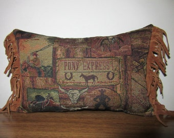 Western Tapestry Pillow Old West Pony Express Happy Trails Fringed Throw Pillow Decorator