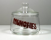 Indiana Glass 1970's Munchies Small Snack Candy Jar Font Lettering Typography