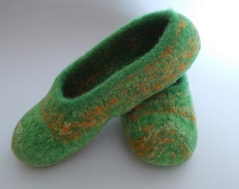 Felted, Boiled, Wool Knit Slippers, House Shoes, US Sz 8-8 1/2