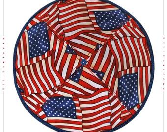 Jewish kippah yarmulke. USA flags. Wedding - Bar Mitzvah, Bat Mitzvah - Shabbat.