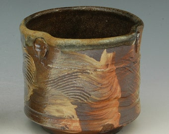 Teabowl  550 Chawan, wood fired with slip decoration FREE SHIPPING