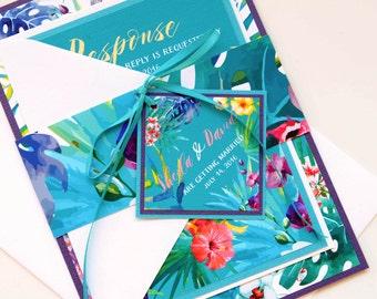 Tropical Flowers Hawaiian Beach Destination Wedding Invitation and RSVP Suite