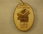 Personalized wooden christmas stack of school books ornament or gift tag
