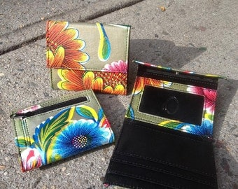 Oil Cloth Gold Floral French Purse Wallet, Women's Gold Floral Trifold Wallet.