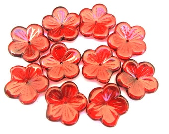 10 Vintage glass beads flower shape hand painted  20mm