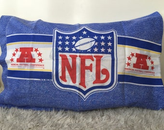 Vintage souvenir NFL football sports teams bedding standard pillowcase ONE blue helmet logo retro collectible rare boys room