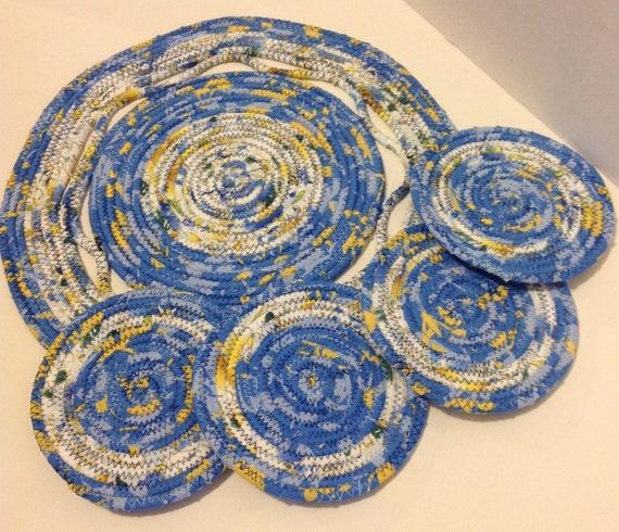 Coiled Fabric Trivet 4 Coasters Set Candle Mat Hot Pad