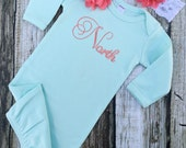 Baby Girl Coming Home Outfit, Baby Girl Clothes, Coral and Mint Bodysuit, Headband, Baby Girl Gift, Personalized Baby Outfit, Monogram