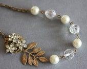Vintage Art Deco Gold Wedding Necklace Vintage Wedding Jewelry  Pearl Bridal Necklace