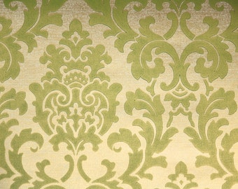 1960s Vintage Wallpaper by the Yard - Metallic Gold and Green Damask