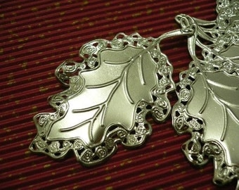 4 x Silver Leaf with Filigree Edging