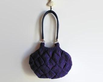 Hobo Bag, Marl Navy Blue, Shoulder Bag, Boho Bag, Knitted Purse, Shoulder Tote Bag, Winter Accessories, Gifts for Her, Shoulder Purse