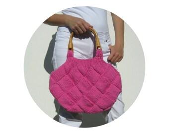 Hot Pink Cotton, Beach Bag, Hand Knit Tote, Tote Bag, Hot Pink Purse, Knitted Bag, Women Handbag, Hobo Bag, Boho Bag, RESERVED for Gianna