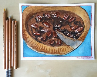 Pecan Pie - Food Illustration