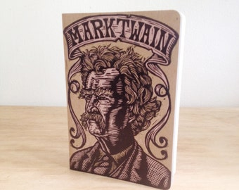 Journal Notebook, Author Blank Notebook, Choose from Twain, Poe, David Foster Wallace, Alan Moore, Flannery O'Connor