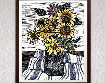 Sunflowers, Wall Art, Linocut Print, Block Print, Relief Art Print, Lino Cut Print, Birthday, Gift, For Him, For Her, Linoleum Print, Art