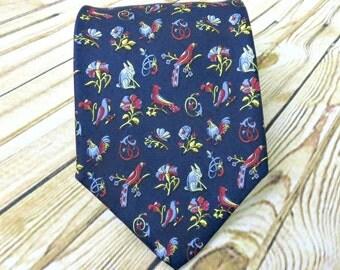 Vintage Necktie - Mens Gift Ideas - Ferragamo Tie - Gift for Dad - Rooster - Fathers Day Gift - Groomsmen Gift - Designer Necktie