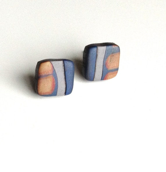 Blue collage post earrings