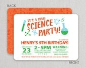 Science Party Invitation - Mad Scientist Birthday Invitation - Birthday Invitation