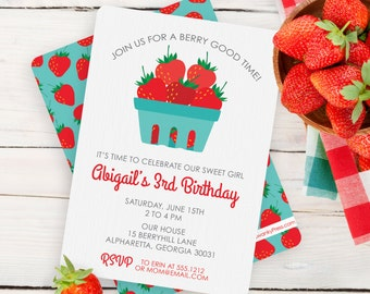 Strawberry Invitation / Strawberry Party Invitation / Strawberry Birthday Invitation