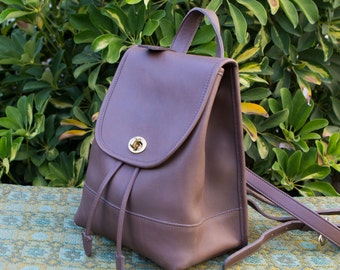 Vintage Brown Taupe Coach Leather Backpack Rucksack Bag Purse Turn Lock Classic 9960 1007163