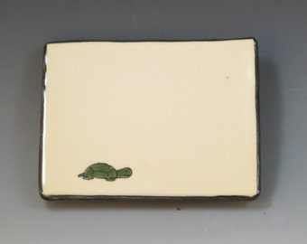 Handbuilt Ceramic Soap Dish with Turtle