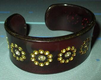 Vintage MOD Tortoise Plastic and Rhinestone Cuff Bracelet
