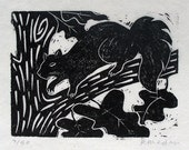 Squirrel, linoleum block print