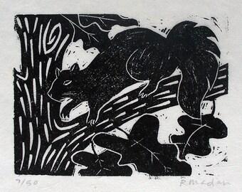 Squirrel, linoleum block print
