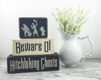 Sign blocks Disney haunted mansion hitchhiking ghost halloween decor stacking wood blocks distressed custom
